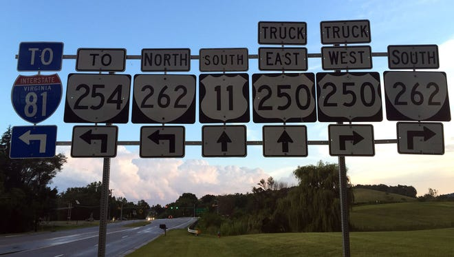 Which way to go? Plenty of choices as you approach the U.S. 11/Va. 262 intersection.