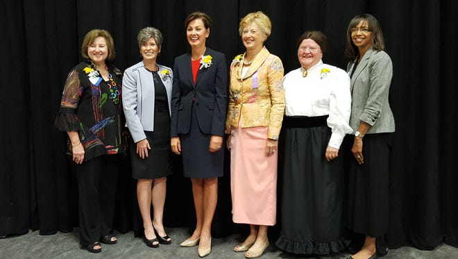 From left: Alicia Claypool, Joni Ernst, Kim Reynolds, Christine Hensley, Margaret Obanion and Dorice Ramsey were honored at the 43rd annual Iowa Women Hall of Fame Ceremony in 2017.