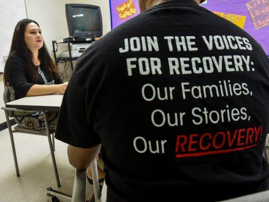 Substance Abuse Program supervisor Athena Duenas conducts