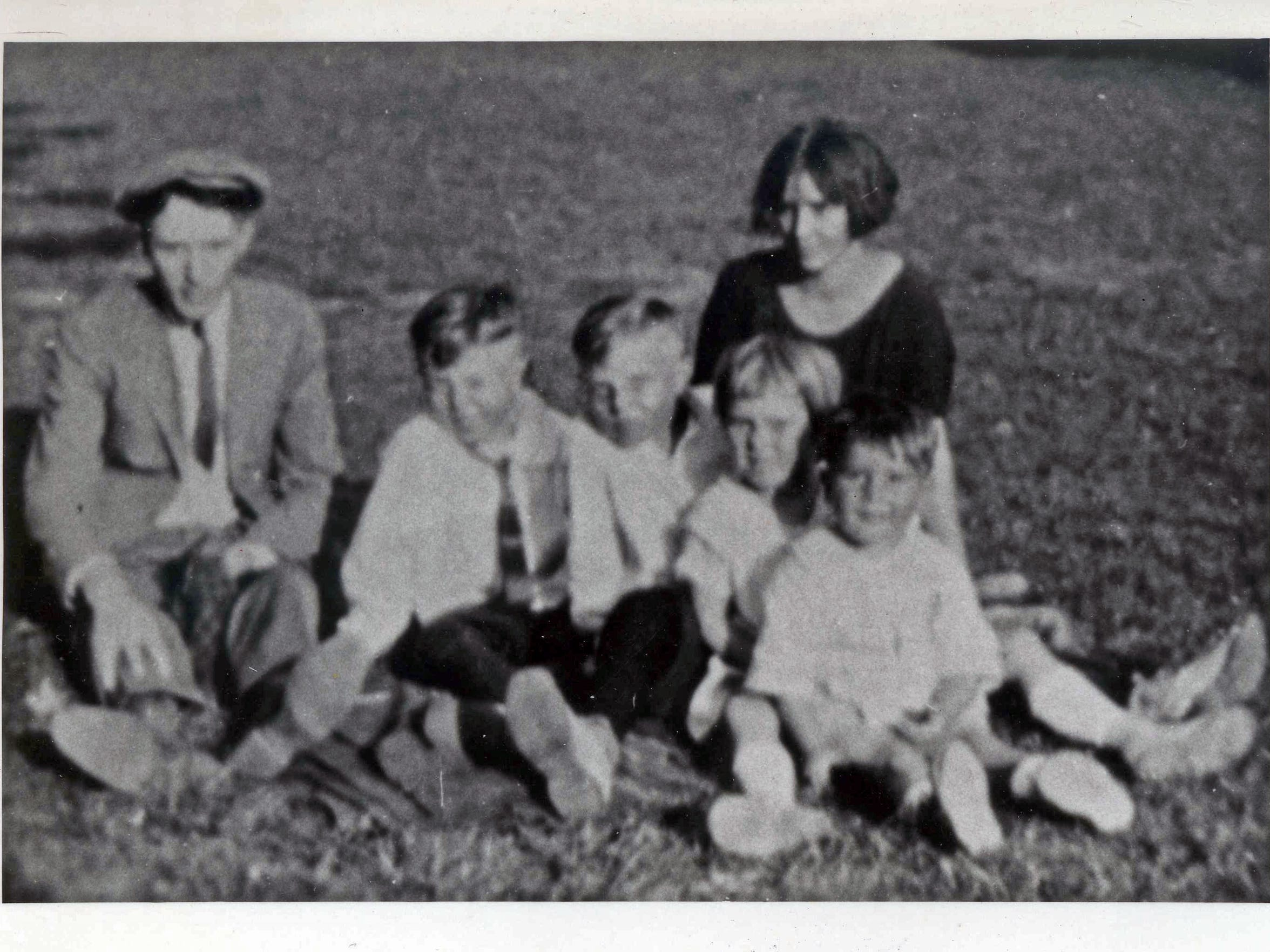 From left, William, Maurice, Donald, Mary, Bernard with Mae circa 1922