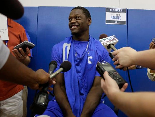 Kentucky's Julius Randle talks to reporters Tuesday at the Wildcats' media day.