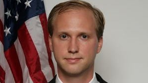 The campaign photo of Nathan Larson, an admitted pedophile and white supremacist running for a House seat representing Virginia's 10th Congressional District.