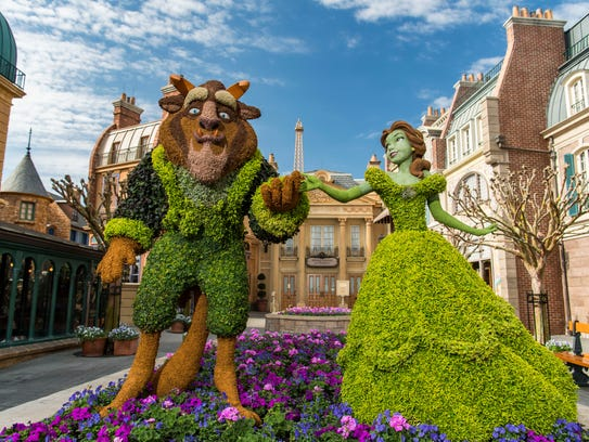 A new Belle topiary, based on the Disney animated classic,