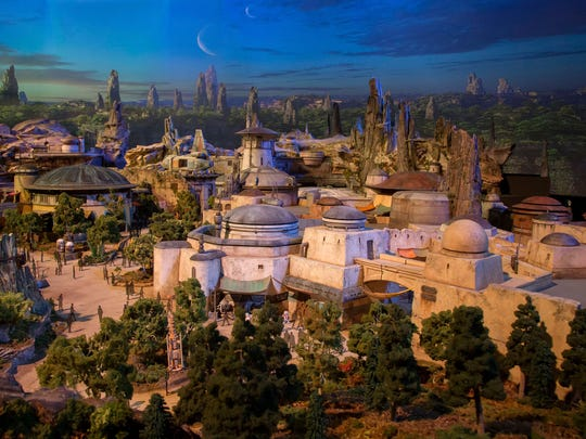 A detailed model of Disney's new Star Wars themed land called Galaxy's Edge was displayed in July 2017 during the D23 Expo at Anaheim Convention Center in Anaheim, Calif.