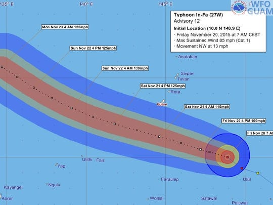 Typhoon In-Fa forecast tracking graphic issued at 7 a.m. Friday, Nov. 20.