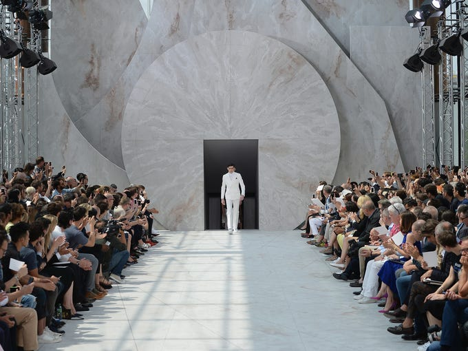 PARIS, FRANCE - JUNE 26:  A model walks the runway during the Louis Vuitton show as part of the Paris Fashion Week Menswear Spring/Summer 2015 on June 26, 2014 in Paris, France.  (Photo by Francois Durand/Getty Images)