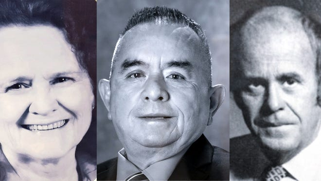 From left, Peggy Sue Larisch, Roberto A. Martinez, and Richard H. Moore will be inducted into the Education Hall of Fame at Western New Mexico University.