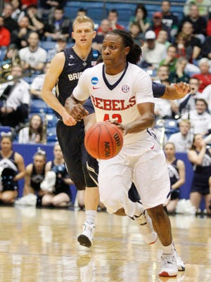 Mississippi's Stefan Moody drives against BYU in the second half Tuesday night.