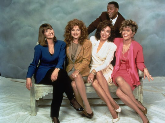 'Designing Women,' the 1986-93 CBS comedy, will find its first streaming home on Hulu. Cast (from left): Jan Hooks, Annie Potts, Dixie Carter, Judith Ivey and Meshach Taylor (standing).