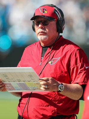 Oct 30, 2016; Charlotte, NC, USA; Cardinals head coach Bruce Arians watches his offense during the second quarter at Bank of America Stadium.