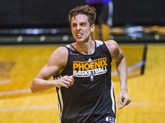 Zach Collins, a 7-foot tall center from Gonzaga, shows his skills during a pre-draft workout at Talking Stick Resort Arena, Tuesday, June 13, 2017.