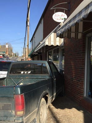A truck crashed into the J Felts Art Studio in downtown Erin.