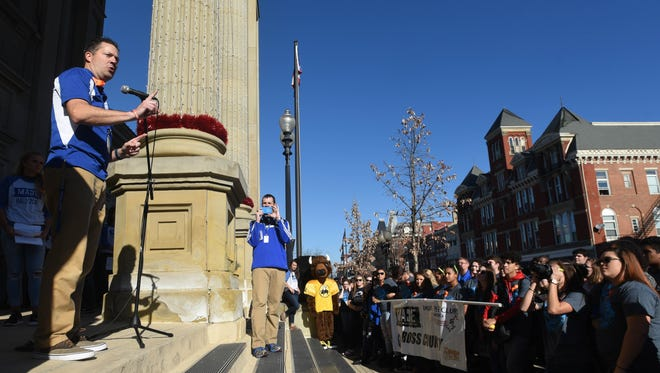 Greg Phillips talks to students from all over Ross County during a My Attitude Determines Everything (M.A.D.E.) anti-drug program rally Friday, Nov. 18, 2016, at the Ross County Courthouse in downtown Chillicothe.