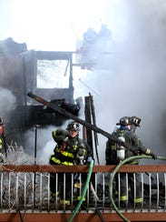 Firefighters from throughout Morris County battle a