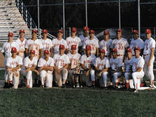 The 1993 Jasper Reds went 29-11. Pictured here at Boonville after winning the Ohio Valley Regional to qualify for the National Baseball Congress Tournament in Wichita, Kan.