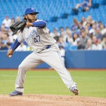 Royals pitcher Johnny Cueto delivers during the first inning at Toronto on Friday.