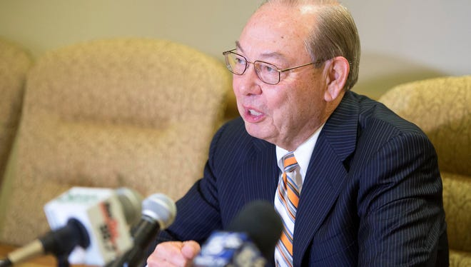Chancellor Jimmy Cheek announced his plans to retire as soon as a replacement can be found on the University of Tennessee campus in Knoxville Tuesday, June 21, 2016. UT president Joe DiPietro said that a search to find Cheek's replacement will begin immediately.