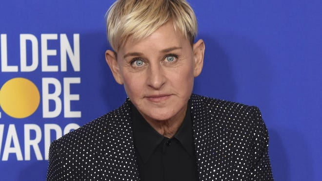 """Ellen DeGeneres, winner of the Carol Burnett award, poses in the press room at the 77th annual Golden Globe Awards on Jan. 5, 2020, in Beverly Hills, Calif. Three producers of her daytime show, """"The Ellen DeGeneres Show,"""" have exited amid complaints of a difficult and unfair workplace environment."""