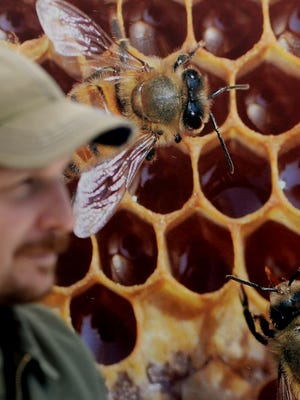 Bee expert Chris Gates answers questions during last year's Earth Day event in Thousand Oaks.
