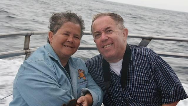 Blue Marble Books owners Tina and Peter Moore in a photo posted on Facebook announcing Tina's Dec. 28 death.