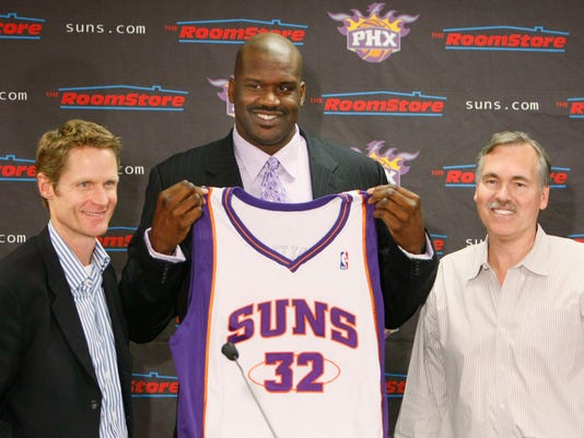 150350 Suns0208 Steve Kerr Shaquille O'Neal Mike D'Antoni