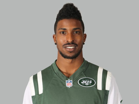 FILE - This is a 2014, file photo, showing Jalen Saunders of the New York Jets NFL football team. Saunders was involved in a single-car accident early Friday, Aug. 15, 2014,  and hospitalized. The team announced Saunders, a fourth-round pick, was on his way to the Jets' practice facility at the time of the accident. There was no immediate word on Saunders' condition, but the Jets say he won't travel with the team for their preseason game at Cincinnati on Saturday night. (AP Photo/File)