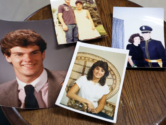 High school and college photos of Renny and Annemarie Abrams.