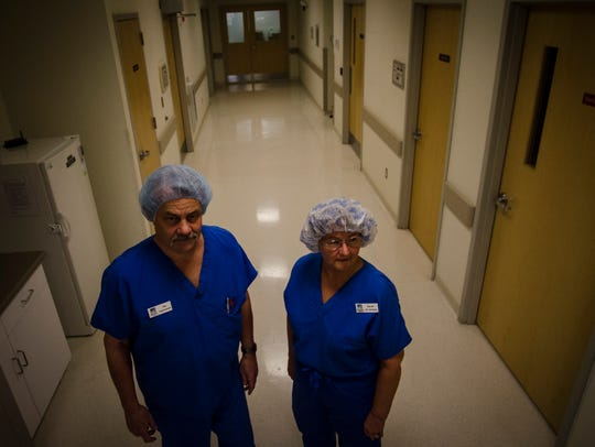 Tony Bianchi, surgical technician, and Mary Clairmont, RN and clinical administrator at The Eye Surgery Center in South Burlington, worry that proposed regulations of the surgical centers like theirs could add hundreds of thousands of dollars in new taxes and fees.