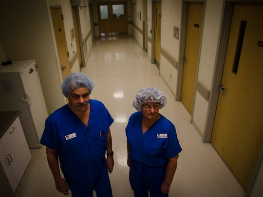Tony Bianchi, surgical technician, and Mary Clairmont, RN and clinical administrator at Vermont Eye Laser in South Burlington, worry that proposed regulations of the surgical centers like theirs could add hundreds of thousands of dollars in new taxes and fees.