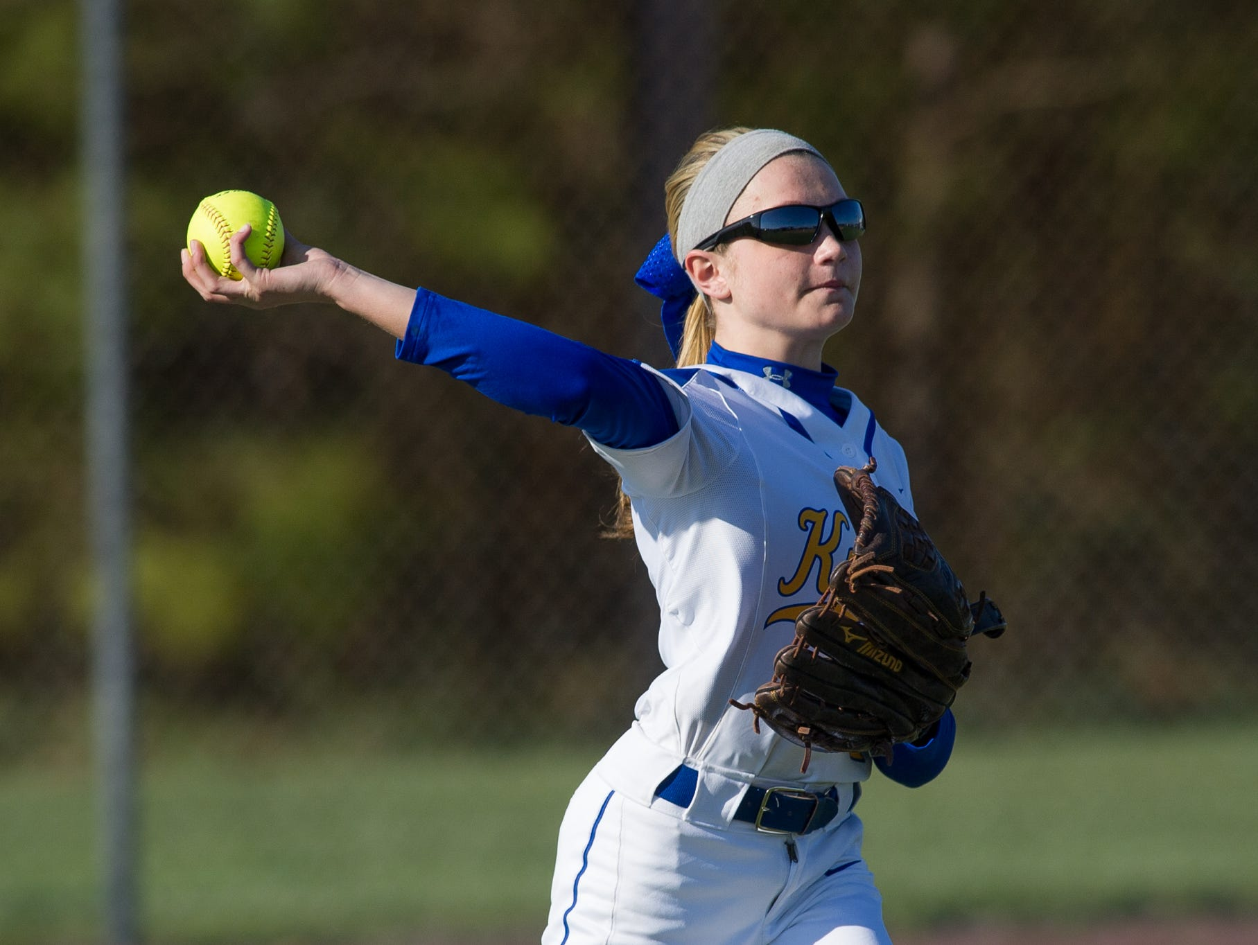 Sussex Central's Kailee Abbott (2) throws the ball to second base from the outfield in game against Sussex Tech.