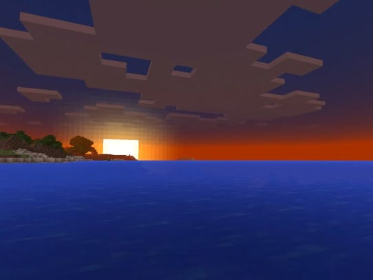 The sun sets over a Minecraft horizon.