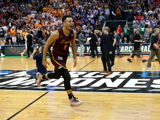 Loyola (Il) Ramblers guard Marques Townes (5) reacts