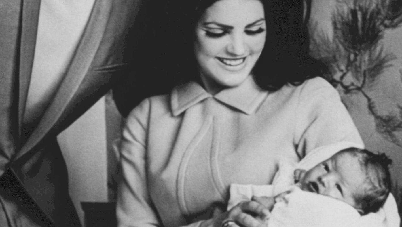 1,659   U.S. babies named Presley in 2012, outnumbering Elvis (183) 9 to 1. Here Elvis poses with wife Priscilla and their newborn daughter, Lisa Marie.