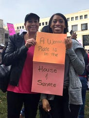 Lisa and Dana Walton, mother and daughter, rally at