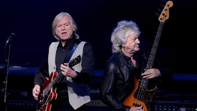 Justin Hayward (left) and John Lodge of the Moody Blues perform at the Nokia Theatre in Los Angeles in 2013. The band will be at the PAC in October.