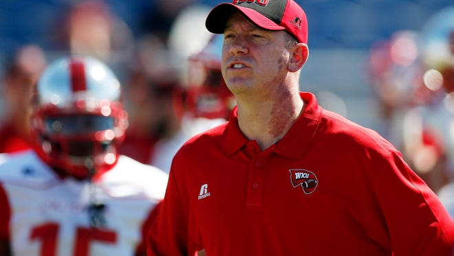 Oct 18, 2014; Boca Raton, FL, USA;  Western Kentucky Hilltoppers head coach Jeff Brohm before a game against the Florida Atlantic Owls at FAU Football Stadium. Mandatory Credit: Robert Mayer-USA TODAY Sports