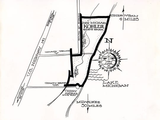 AT LEFT — A map from 1968 outlining Kohler-Andrae State Park.