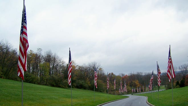 Avenue of Flags at Indiantown Gap National Cemetery.