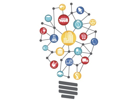 Industrial Internet of things concept represented by light bulb