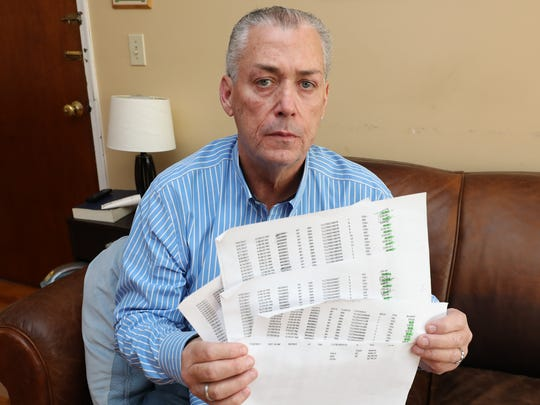 John J. Power, of Pearl River holds copies of e-mail statements from the EZ-Pass system belonging to his son John P. Power, that show a balance of $6756.25 as of July 13, 2017.
