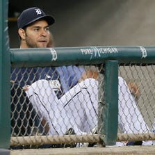 Detroit Tigers pitcher Anibal Sanchez sitting on the bench watching in the early innings of their 7-2 loss to the Seattle Mariners in Detroit on Friday, August 15, 2014.