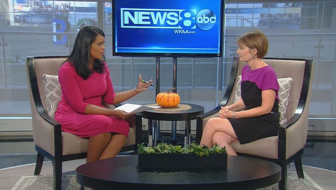 Author Tiffany Sunday, right, discusses dyslexia with WFAA anchor Carla Wade.