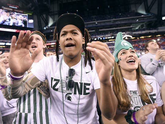 MSU's Izzone is pumped up as the Spartans take on