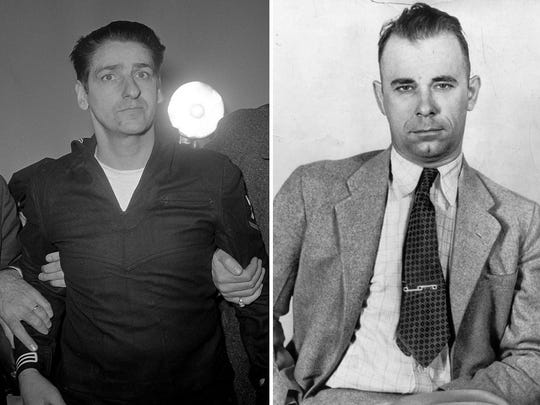"""Albert DeSalvo, left, admitted to the """"Boston Strangler"""" crimes. John Dillinger was implicated in the robberies of 24 banks and four police stations."""