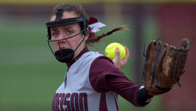 Henderson County's Hailee Hope delivers a pitch to a Gibson Southern batter Gibson Southern's during their game at the Henderson County Softball Field Monday evening.