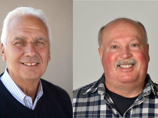 Len Stevens, left, and Greg Hudson, right, are running