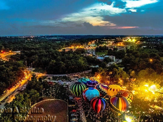 A drone photo from the 2016 balloon glow.