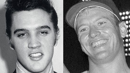 Elvis Presley (left) and Mickey Mantle