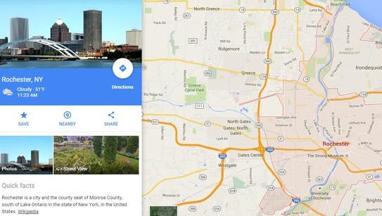Google Maps' updated Rochester page, which no longer