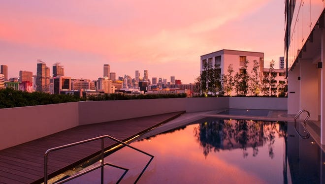 The eighth floor pool of the new Hilton Garden Inn Singapore Serangoon  has views of Little India.